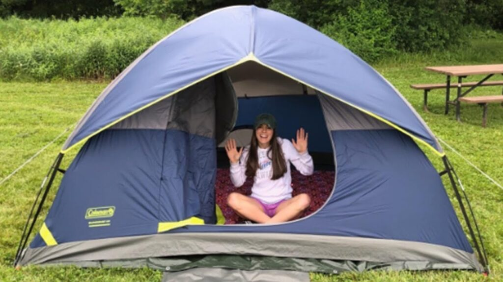 Coleman Sundome camping Tent with dog