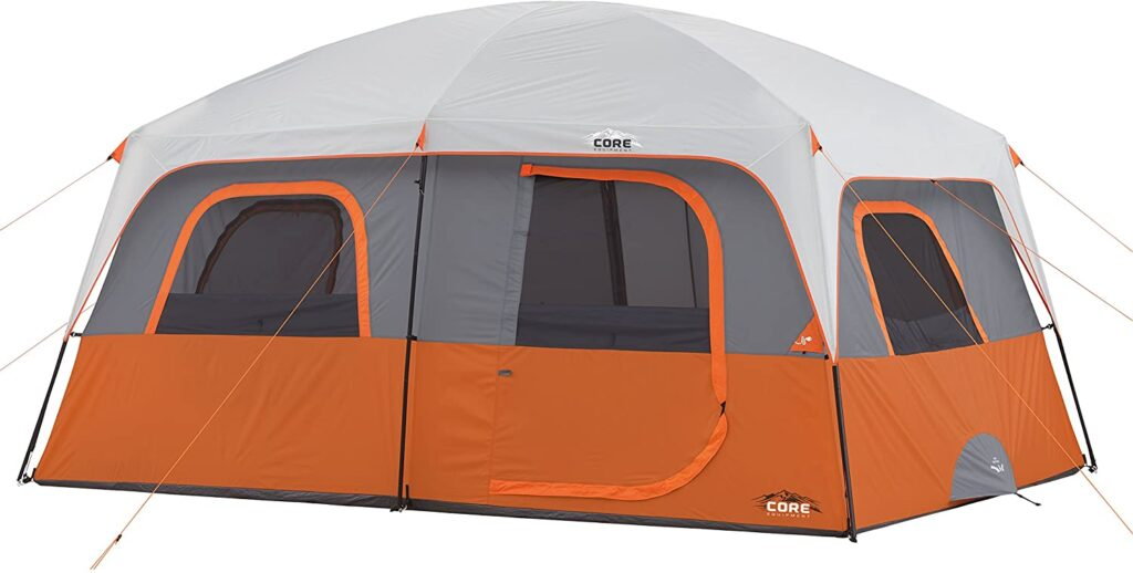 Core 9 Person Extended Dome Tent for wind and rain